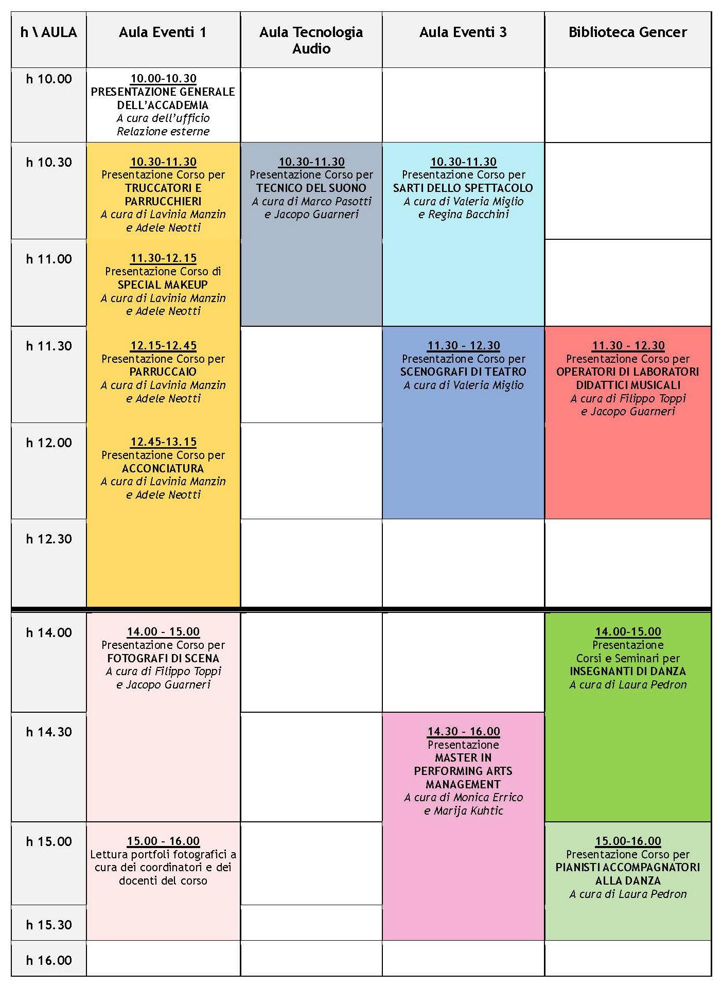 Programma Open Day Accademia Teatro alla Scala 9 settembre 2016